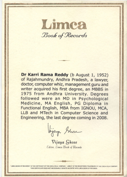 limca record certificate